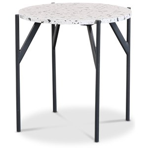 Terrazzo sidobord Ø50 cm - Terrazzo Cosmos & underrede AIR i svart metall